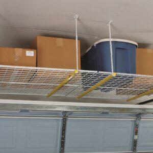 Overhead ceiling storage rack